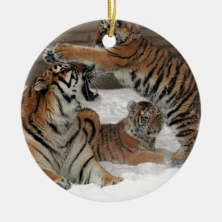 Tigers in snow round ceramic decoration