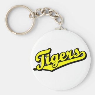 Tigers in Yellow Basic Round Button Key Ring