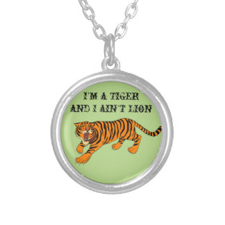 Tigers, Lions and Puns Round Pendant Necklace
