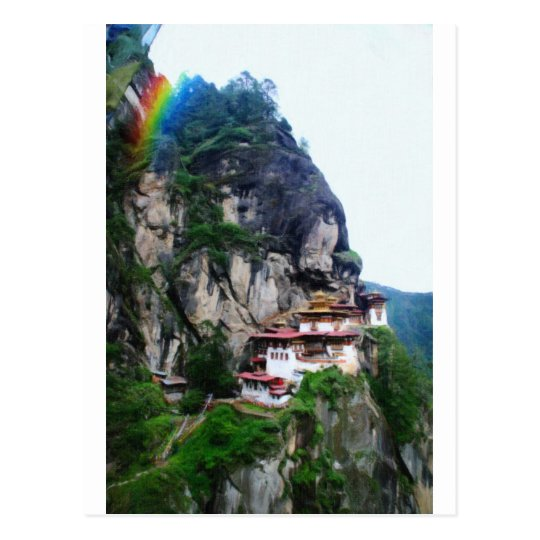 Tigers Nest Bhutan and prayer flags 4 rainbow Postcard