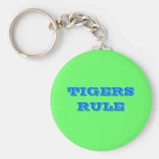 TIGERS RULE BASIC ROUND BUTTON KEY RING