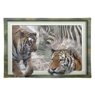 Tigers, Zebra,Giraffe, Primitive Jungle Place Mats