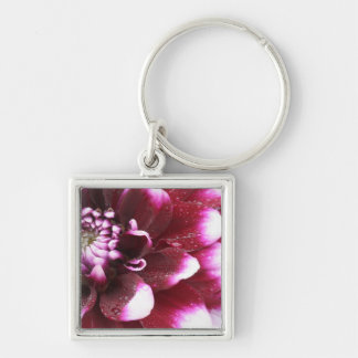 Tight in photographs of Dalhia flower with the Silver-Colored Square Key Ring