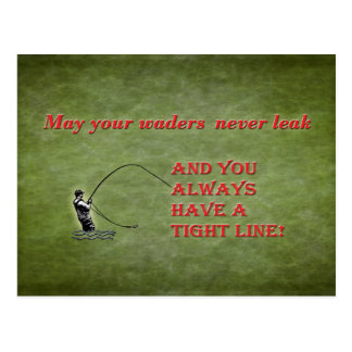 Tight line | waders | Fly fishing Holiday wish Postcard