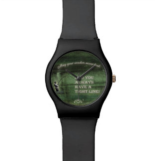 Tight line | waders never leak, Fly fishing wish Wristwatch