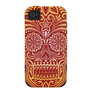 Tight Red and Yellow Sugar Skull iPhone 4 Cover