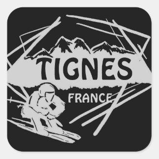 Tignes France black gray ski logo art stickers