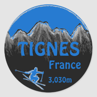 Tignes France blue ski logo art stickers