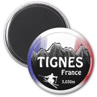 Tignes France flag ski logo art magnet
