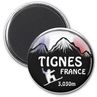 Tignes France flag snowboard art design magnet
