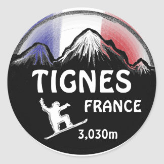 Tignes France flag snowboard art stickers