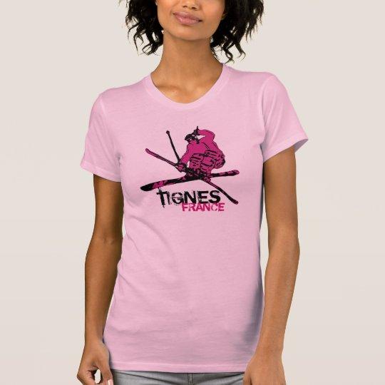 Tignes France ladies pink black skier tee
