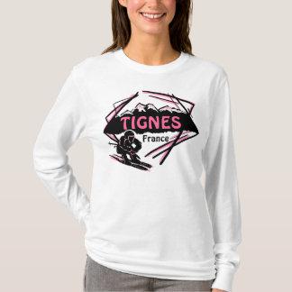 Tignes France pink ski logo art ladies hoodie