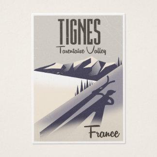 Tignes, France ski travel poster Business Card