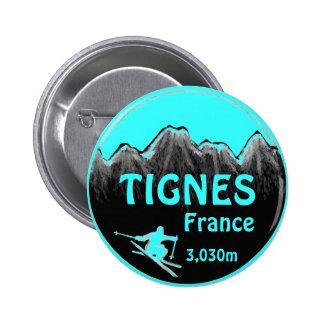 Tignes France teal ski art logo button