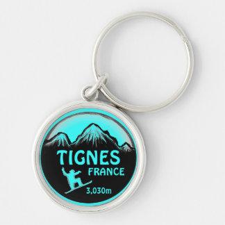 Tignes France teal snowboard art keychain