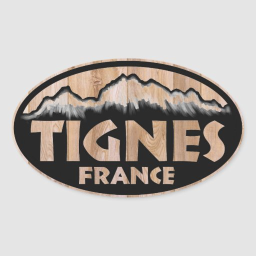 Tignes France wooden oval stickers