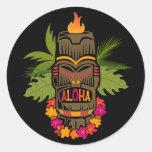 Tiki Aloha Round Stickers