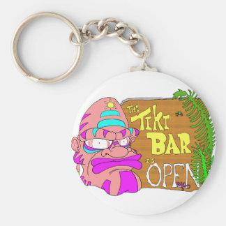 Tiki Bar is OPEN Basic Round Button Key Ring