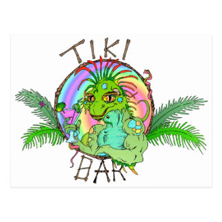 Tiki Bar Lizard Postcard