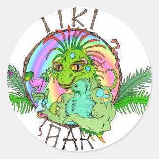 Tiki Bar Lizard Round Sticker