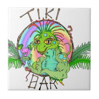 Tiki Bar Lizard Small Square Tile