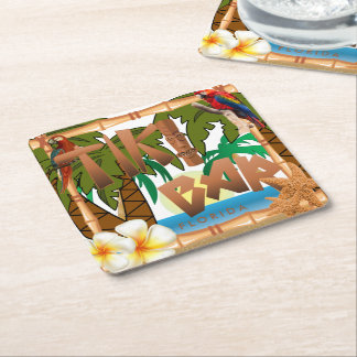 Tiki Bar Party Square Paper Coaster