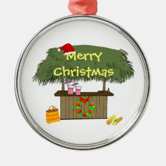 Tiki Bar Santa Hat Wreath Tropical Beach Christmas Christmas Ornament
