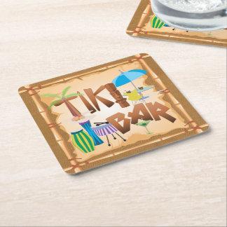 Tiki Bar Square Paper Coaster
