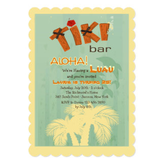 Tiki Bar With Dolphins Invitation