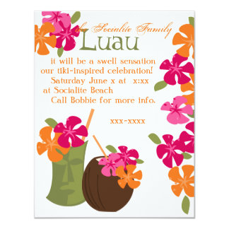 Tiki Blossoms 11 Cm X 14 Cm Invitation Card