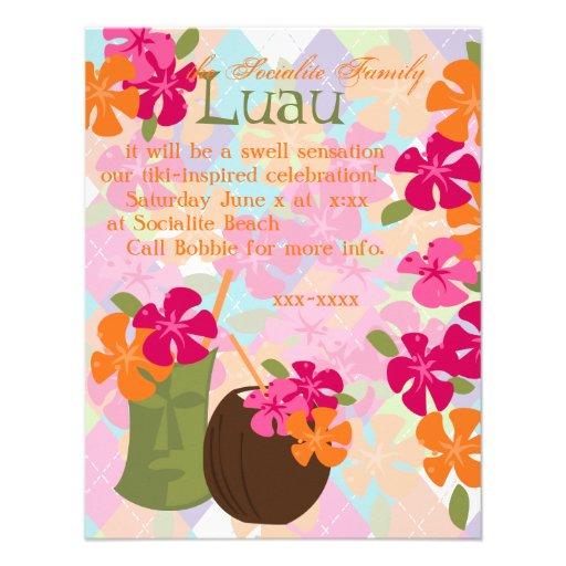 Tiki Blossoms Personalized Invites