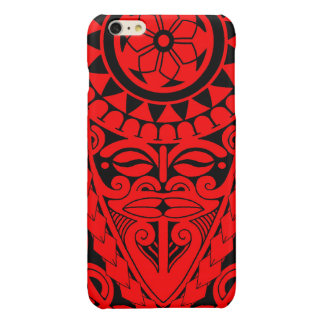 Tiki face and tribal sun tattoo design iPhone 6 plus case