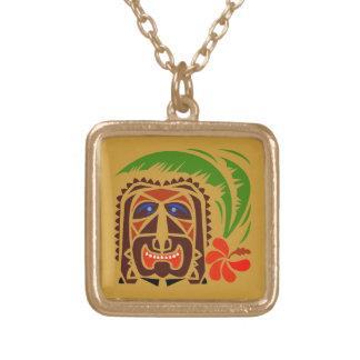 Tiki Face Square Pendant Necklace
