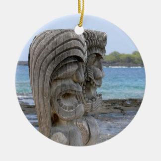 Tiki Guardians in Kona, Hawaii - Ornament