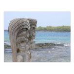 Tiki Guardians in Kona, Hawaii - Postcard
