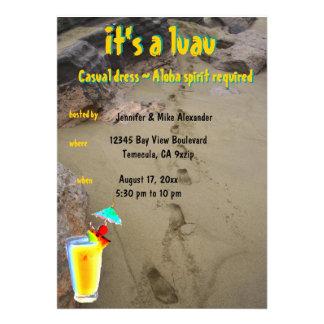 Tiki Hibiscus Luau Party Custom Invite