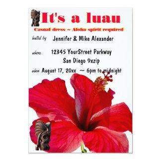 Tiki Hibiscus Luau Party 13 Cm X 18 Cm Invitation Card