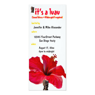 "Tiki Hibiscus Luau Party 4"" X 9.25"" Invitation Card"