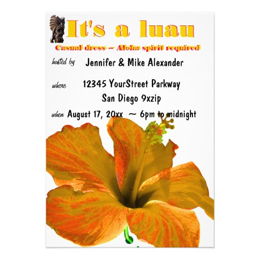 Tiki Hibiscus Orange and Yellow Flowers Luau Personalized Announcement