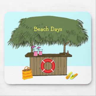 Tiki Hut Bar at the Beach Flip Flops Summer Drinks Mouse Pad