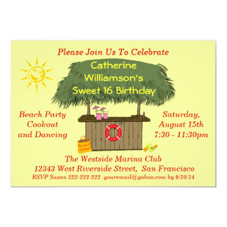 Tiki Hut Bar Cookout Beach Pool Party Sweet 16 13 Cm X 18 Cm Invitation Card