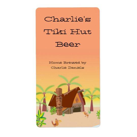 Tiki Hut Beer Label Shipping Label