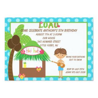 Tiki Hut Blu Boys Birthday Invitation
