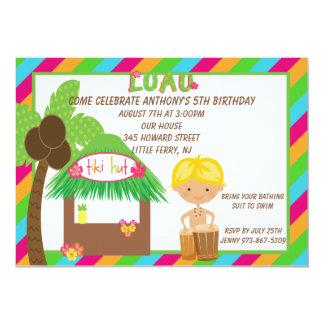 Tiki Hut Bright Boy Birthday Invitation