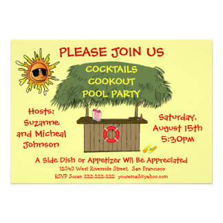 Tiki Hut Cocktail Cookout Beach or Pool Party Personalized Invitation