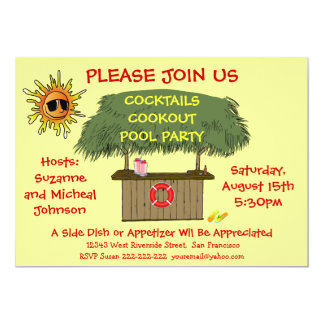 Tiki Hut Cocktail Cookout Beach or Pool Party 13 Cm X 18 Cm Invitation Card