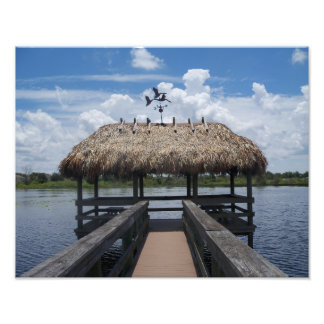 Tiki Hut Florida blue sky water photograph print
