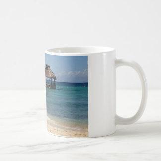 Tiki hut on the beach basic white mug