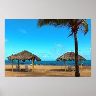 Tiki Huts on the Beach Poster